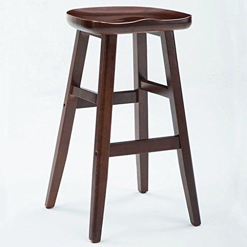 QZz Tabouret de bar en bois solide, tabouret haut de décoration de meubles, chaise de loisirs, tabouret en bois de taille de siège 74cm (Couleur : Marron)
