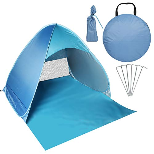 AilGoe Pop-up Beach Tent Portable for1-3 Person,Automatic Instant Beach Tent Waterproof Anti-UV Shade Camping Tent for Beach, Garden, Camping, Fishing, Picnic(BLUE)