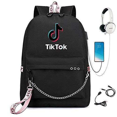 REGEN TIK Tok School Bag, Anime Luminous Backpack, USB Charging Port, Laptop Bag, Handbag, Canvas Shoulder Bag, Suitable for Cool Girls, Boys and Teenagers Outdoor Backpacks