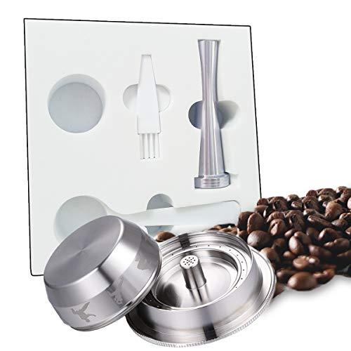 MEJAJU Kaffeekapsel, Edelstahl, wiederverwendbar, nachfüllbar, Crema-Kaffeekapseln mit wiederverwendbarem Deckel, kompatibel mit Nespresso-Maschinen (2oz-Kaffeetasse (groß)