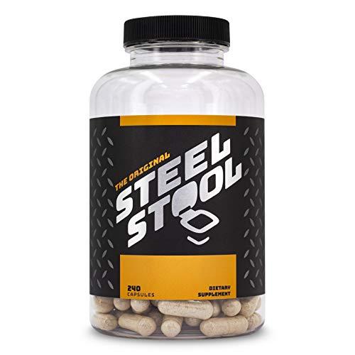 Steel Stool Fiber Supplement for Men & Women with High-Protein Diets - All-Natural Psyllium Husk Fiber Blend - Improve Digestion & Regularity (240 Capsules)