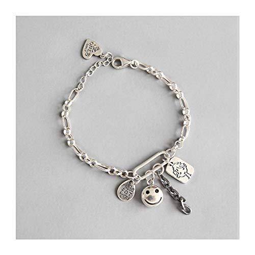 Lotus Fun S925 Sterling Silber Armband Retro Smiley Figur Puppe Englisches Etikett Kette Armbänder Natürlicher Handgemachter Einzigartiger Schmuck für Frauen und Mädchen