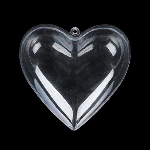 Vlovelife 80mm Clear Plastic Acrylic Heart Fillable Ball Ornament Crystal Decor Favor