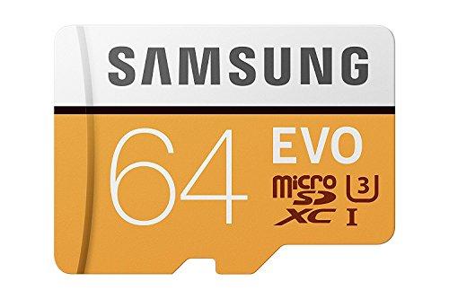 Samsung MicroSDXC EVO - Tarjeta de Memoria (MicroSDXC EVO, 64 GB, MicroSDXC, Clase 10, 100 MB/s, UHS-I, IPX7), Naranja/Blanco