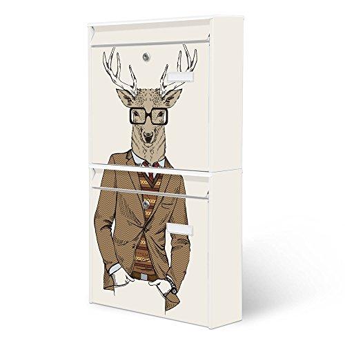 BANJADO Briefkastenanlage 2 fach | Stahl weiß mit 2 Briefkästen | Doppelbriefkasten 36x64x10cm | inklusive Namensschild | Wandmontage mit Motiv Doktor Hirsch