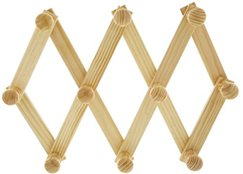 AMAPON Accordion Style Expandable Wall Wooden Coat Rack 13 Hooks (Pegs) Hang Hats Jackets Coffee Mug Purses Necklaces Towels Cap Leash Scarves Data Line Kitchenware