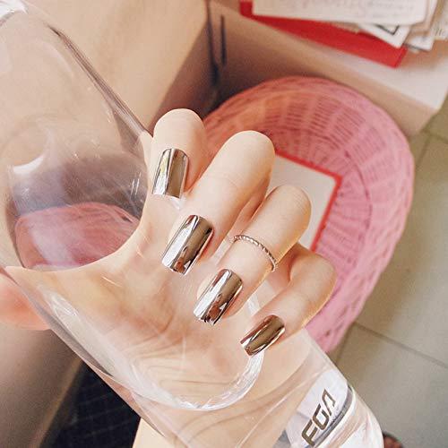WOVP Faux Ongles Métal Miroir Argent Faux Ongles Conseils Manucure Métallique Pur Argent Placage Punk Style 24 Pcs Longue Taille Faux Nail Art Décorations