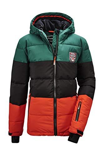 Killtec Jungen Fiames BYS Ski Quilted Jckt C Jacke In Daunenoptik Mit Kapuze Und Schneefang, dunkelgrün, 152