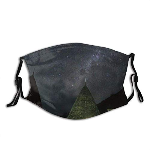 Face Cover Grass House Night Cam-per Countryside Meadow Tent Light Shining Outing Camping Under Starry Sky Balaclava Reusable Mouth Bandanas with 2 Filters