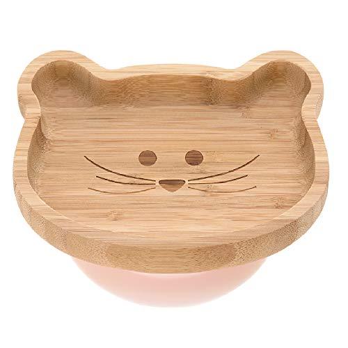 LÄSSIG Houten bord voor kinderen, van bamboe-zuignap van silicone, antislip, plaat Little Chums roze