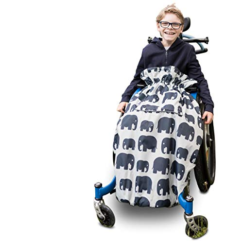 100% Waterproof Fleece-lined Wheelchair Cosy Wheelchair Cover | Universal fit for wheelchairs and special needs buggies | Child size (Grey Elephant)