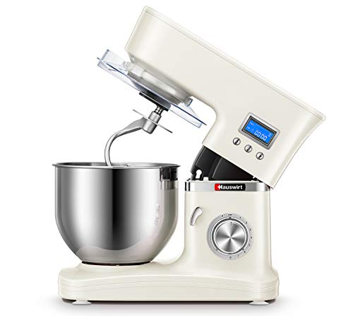 Hauswirt 3-IN-1 Stand Mixer with Digital Timer, Tilt-Head 5.3-Qt Electric Kitchen Tool, 8 Speeds & Pulse, Planetary Mixing, Includes Stainless Steel Metal Dough Hook, Flat Beater, Wire Whip, Pouring Shield - Cream White
