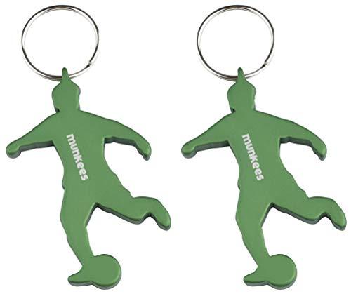 munkees 2 x Schlüsselanhänger Fussball I Flaschenöffner I Fußball Fanartikel I Geschenk Artikel, Doppelpack Grün, 34905