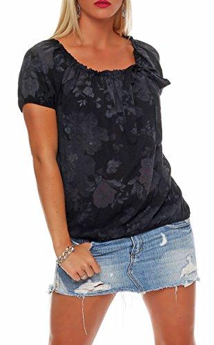 Malito Damen Blusenshirt mit Blumen Print | Oberteil mit Schleife | Hemdbluse - Tunika - modern 3443 (schwarz)