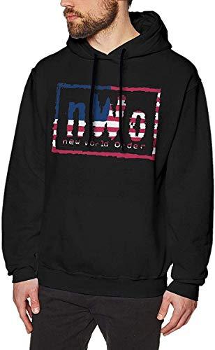 SHUNFAN Homme Sweats à Capuche, Sweat-Shirt à Capuche, NWO Logo Mens Long Sleeve Sweatshirts Man's Hoodies Black