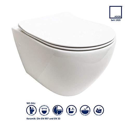 ADOB, spülrandlose WC Keramik Nanoversiegelung Hänge WC Toilette mit passendem WC Sitz mit Absenkautomatik, inkl. Schallschutzmatte,28023