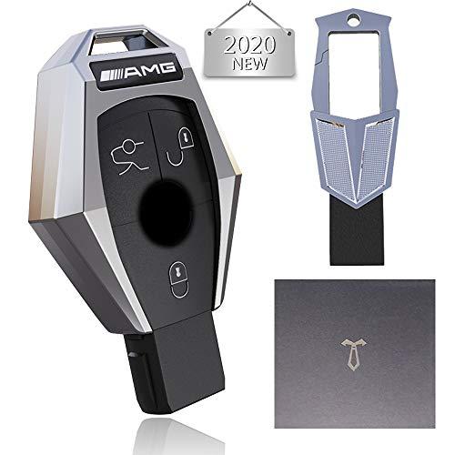 Coque de Protection pour clé de Voiture pour Mercedes Benz, Housse de clé de Voiture en Alliage de Zinc avec Porte-clés Adapté à Benz Classe A/B/C/GL/ML et GLA/GLC/GLE/GLK/GLS/AMG