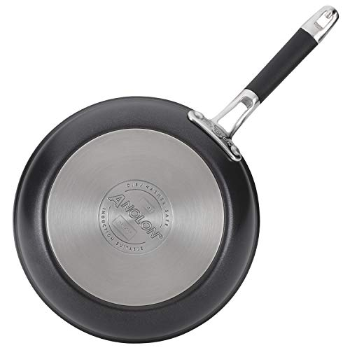 Anolon Smart Stack Hard Anodized Nonstick Frying Pan Set / Fry Pan Set / Hard Anodized Skillet Set - 8.5 Inch and 10 Inch, Black