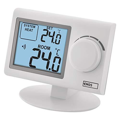 EMOS P5614 drahtloser Raumthermostat, manueller Wandthermostat für Heizungssysteme und Kühlungssysteme, Thermostat/Raumtemperaturregler mit Stellrad, Sender + Empfänger Set, 100 m Reichweite, Weiß