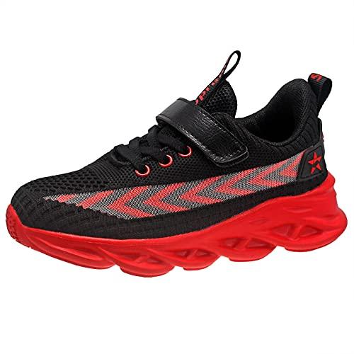 KRONJ Scarpe Sportive per Bambini Ragazzi Ragazze, Scarpe da Ginnastica Traspirante Sneakers Antiscivolo, Nero e Rosso-31