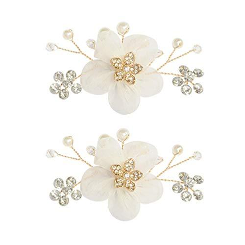 Holibanna 2 Piezas Hebillas de Zapato de Diamantes de Imitación Boda Flor de Seda Clips de Zapatos Desmontables Flores de Zapatos de Perlas para Mujer Decoración de Fiesta Accesorios