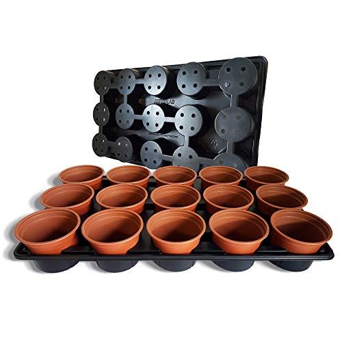 Elixir Gardens Plastic Plant Pot + Carry Trays   Round Pots 10.5cm Diamter x 8cm   60 Pots + 4 Carry Trays