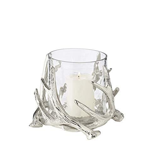 EDZARD Windlicht Kingston im Hirschgeweih Design, Aluminium vernickelt, mit Glas, Höhe 15 cm, Durchmesser 19 cm