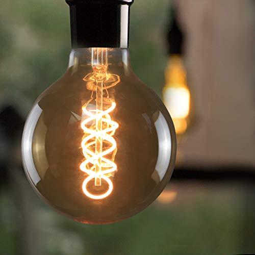LED Edison Glühbirne E27, Vintage Kugel Glühlampe 4W, GBLY LED Globelampe Dekorative Antike Lampen, Warmweiß 2200K Filament Bulb für Nostalgie und Retro Beleuchtung im Haus Café Bar, Nicht Dimmbar