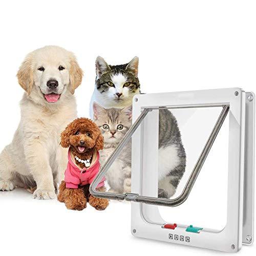 LQH Puerta de Mascotas, Puerta de la Solapa Puerta magnética Magnética con Cerradura de 4 vías Puertas Grandes for Gatos for Puertas Exteriores Interior Instalación fácil (Size : Medium Size)