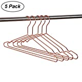 Amber Home 17' Adult Heavy Duty Strong Rose Cooper Gold Clothes Hangers, Coat Hangers, Suit Hangers, Shirt Dress Hangers, Heavy Duty Metal Clothing Hangers with Notches (Adult Copper, Pack of 5)