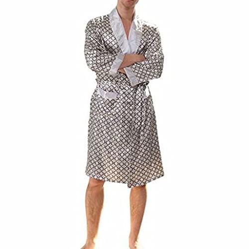 DEWUFAFA Vestido de satén para Hombre Baño de Seda Ligero Pijamas de baño de Seda con Pantalones Cortos Mangas largas Inicio Kimono Establecimiento de Albornoz Impreso (Color : E, Size : XXX-Large)