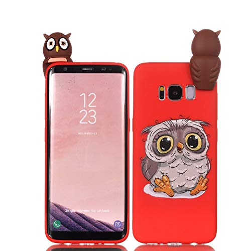 LAXIN Cute owl Case for Samsung Galaxy S8,Soft 3D Silicone Case,Cute Fruit Rubber Cover,Cool Kawaii Cartoon Gel Cover for Kids Girls Boys Men Woman Fun Soft Silicone Shell