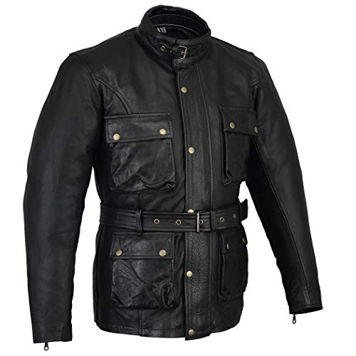 Biker Gear Klassieke Vintage Trail Blazer CE1621-1 PU uitrusting motorfiets gewaxte & geolied Leather Jacket - Zwart - Medium