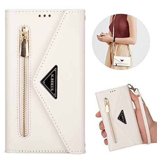 Nadoli Handy Brieftasche Umhängetasche für Samsung Galaxy Note 10 Lite,Frauen Mädchen Pu Leder Reißverschluss Kleine Crossbody Schultertasche Geldbörse Handytasche mit Gurt & Kartenfächer
