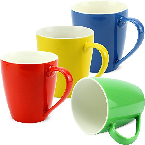 matches21 Tassen Becher Kaffeetassen einfarbig rot gelb dunkelblau grün Porzellan 4er 10 cm 350 ml - ohne Tassenhalter