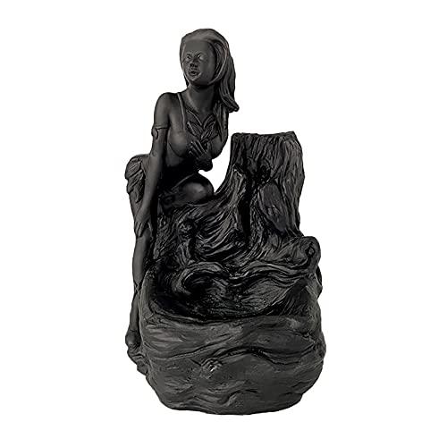 Fenteer Escultura femenina soporte de incienso de reflujo quemador de incienso de cascada para el hogar Oficina Yoga adorno de aromaterapia decoración del