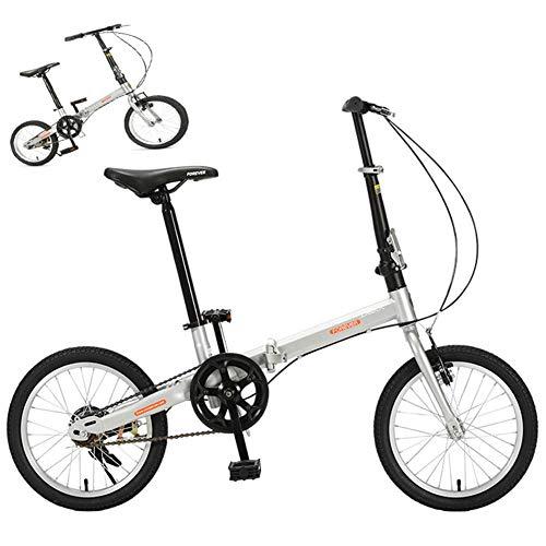 Qhxxtxjis Mini Studenten Klappräder Fahrrad, Single Speed Pendler Aluminium Rahmen Erwachsene Fahrrad, Leichte City Road Radfahren Von Leicht Zu Transportieren Mit Anti-Skid-Reifen,Silber,16 inch