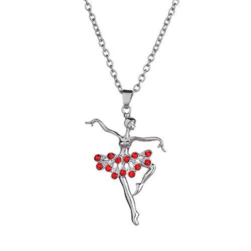 livecity Bling Elegante Ballerina Anhänger Halskette Strass Charm Schmuck Weihnachts Geschenk, rot, Mini