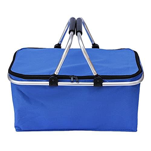 Cesta de Compras Plegable Lavadero Hermer Bolsa de Almacenamiento Oxford Paño Mango Picnic (Color : Blue)