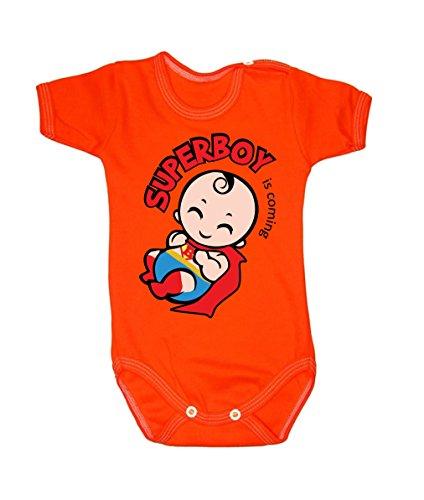 Couleur Mode bébé Superman bodies à manches courtes 100% coton Petit bébé – 24 mois – 0002 Orange 0-3 months, 62 cm
