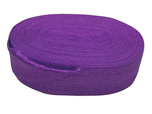 Bowtique Emilee 1' Elastic 10 yards Spool, Fold Over Elastic for Headbands, Hair Ties or other Sewing Projects (Purple)