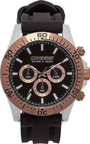 Cressi Nereus Watch Reloj Deportivo analógico de Cuarzo Resistente al Agua 200 MT con cronógrafo y Calendario, Negro/Bronce, Uni