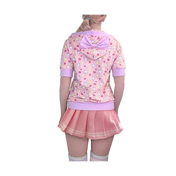 Littleforbig Women's Casual Regular Fit Short Sleeve Zip-up Drawstring Hoodie Sweetheart Jacket – Usagi Moon