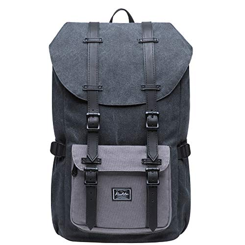 KAUKKO Laptop Outdoor Backpack, Traveling Rucksack Fits 15.6 Inch Laptop (E5-1Canvas Blackgrey)
