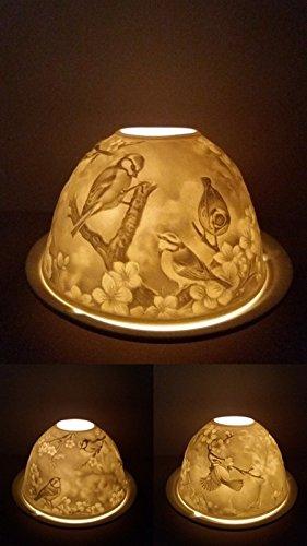 Porzellan Windlicht Vögel auf Ästen Dome Light Teelichthalter Teelicht