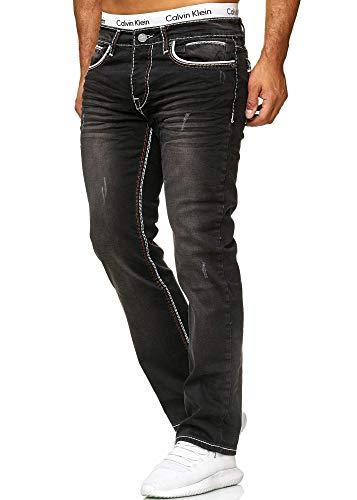 OneRedox Herren Jeans Denim Regular Fit Used Design Modell 5166 (40/32 (Fällt eine Nummer Kleiner aus), 5167 Black)