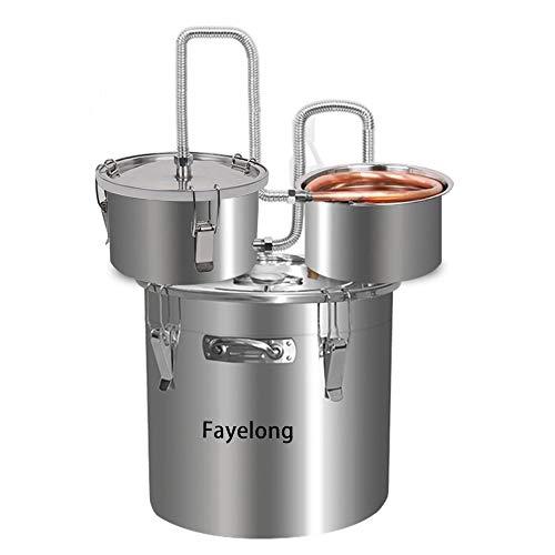Fayelong Nuovo DIY CASA 3 Pentole Alambicco Distillatore Distillazione Temperatura Serpentina Acqua Alcol Vino Oli Essenziali Completo Kit di Birra