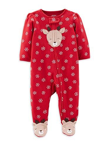 Carter's Baby Girls' Reindeer Sleep N' Play Pajamas - red - Newborn