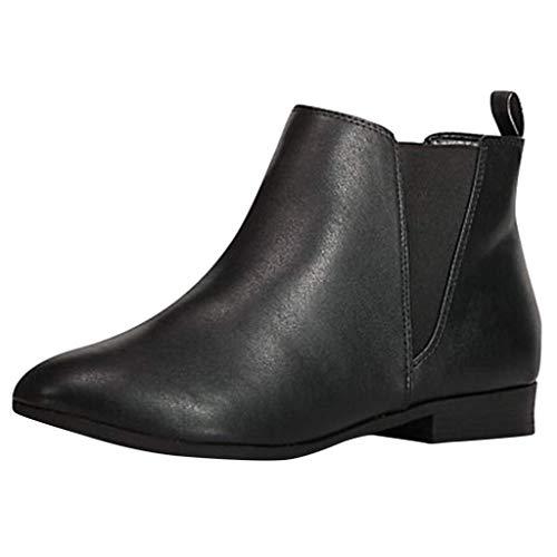Yowablo Damen Chelsea Boots aus Glattleder Stiefeletten Elastische Lasche Niedriger Block Flacher Absatz Abgerundete Zehen Arbeitsschuhe (40 EU,Schwarz)