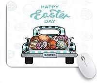 NINEHASA 可愛いマウスパッド イースターファームトラックプルカラフルな卵春祭り ノンスリップゴムバッキングコンピューターマウスパッドノートブックマウスマット